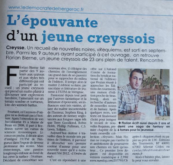 Article du démocrate (Bergerac) du 14 novembre 2013